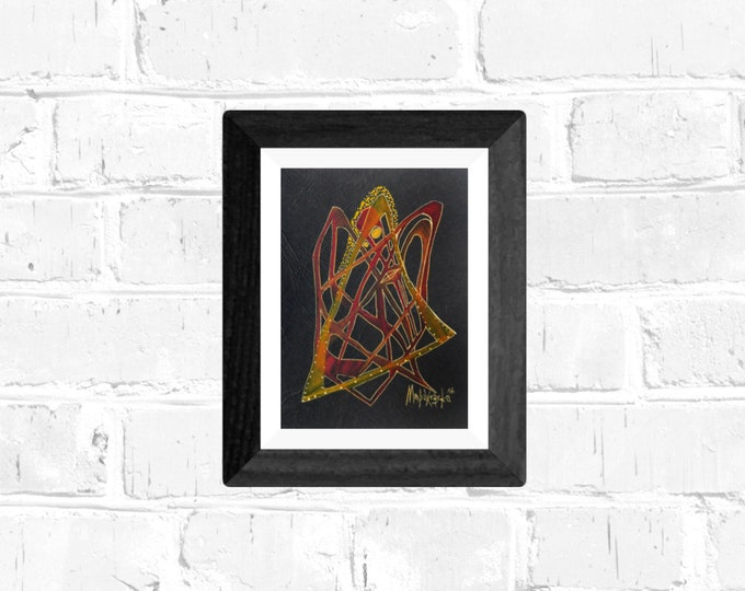 Painting Spider, Watercolor Artwork, Black Paper Painting, Spider Painting, Framed Painting, Original Painting, by Maria Marachowska