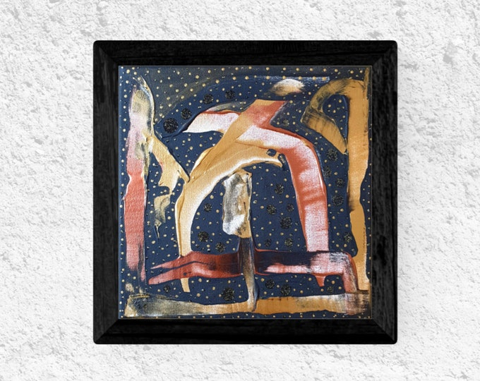 Gold Abstract Canvas Painting Black Framed, Acrylic Canvas Painting, Gold Painting, Textured Art,  Original Painting, by Maria Marachowska