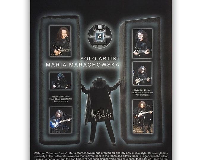 Music Poster Siberian Blues, Design, Museum Quality Paper, Star Poster, Musician Poster, Fan Poster, by Maria Marachowska