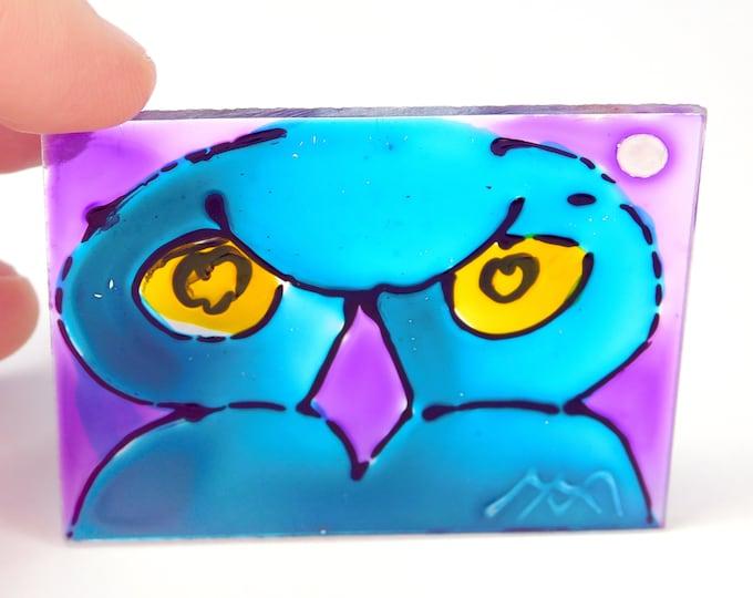 Owl Stained Glass, Blue Owl, Suncatcher Owl, Glass Painting Owl, Owl Painting, Blue Owl, Window Owl, Window Painting,  by Maria Marachowska