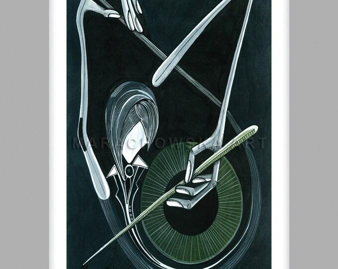 Black White Music Print, Music Print Card, Musician Art Card, Small Music Print, Small Card Art Print, by Maria Marachowska