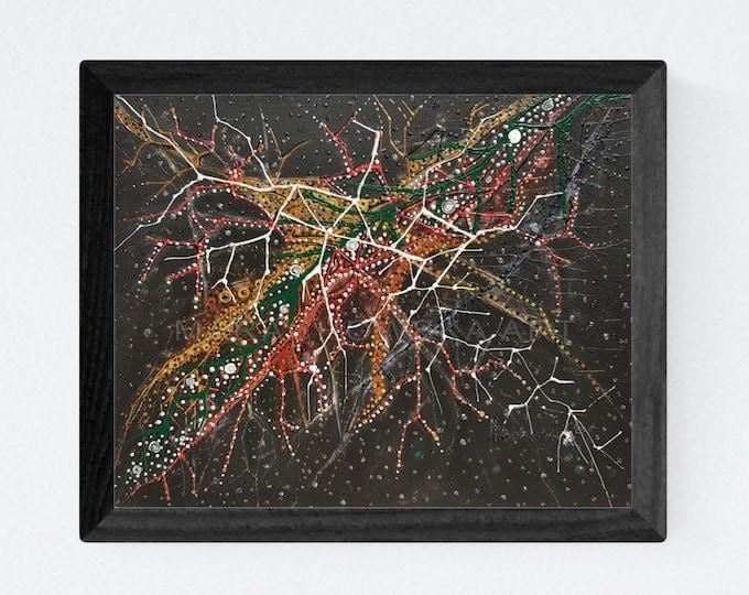 Textured Abstract Painting Sky - Original Abstract Painting Sky - Textured Dark Painting - Framed Dark Painting - by Maria Marachowska