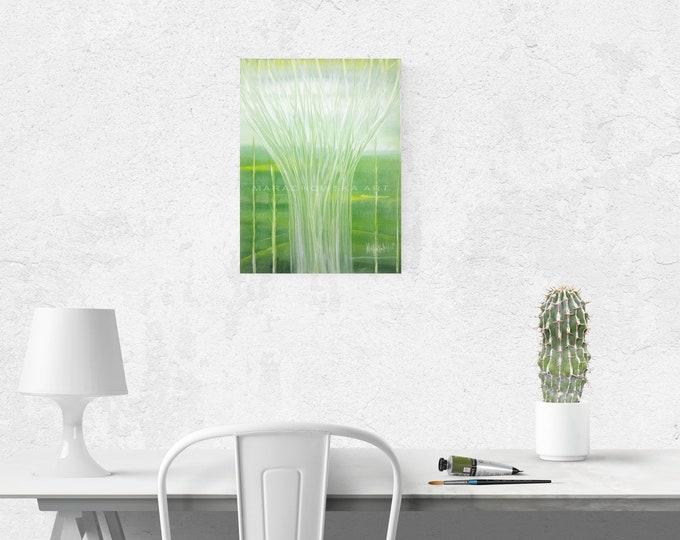 Painting Acrylic Canvas Green Tree - Painting Nature Green Landscape - Beautiful Tree - by Maria Marachowska