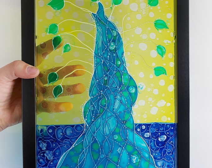 Stained Glass Painting - Tree Glass Artwork -  Glass Tree Artwork - Framed Glass Painting - by Maria Marachowska