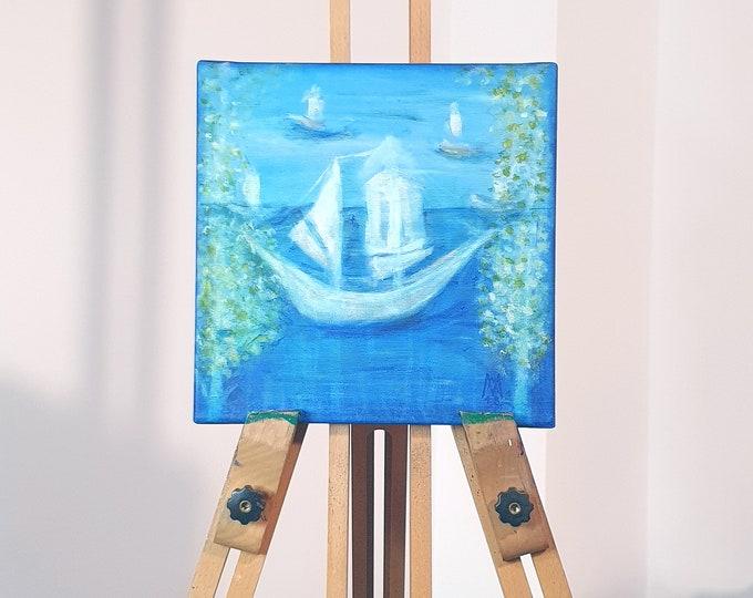 Painting Blue Ship, Canvas Painting Ship, Original Painting Ship, Acrylic Painting Ship, Framed Painting, Ship, by Maria Marachowska