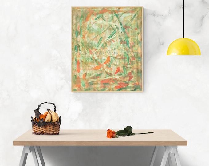 Canvas Painting Abstract Autumn, Original Abstract Painting, Yellow Red Painting, Abstract Artwork, Abstract Art, by Maria Marachowska