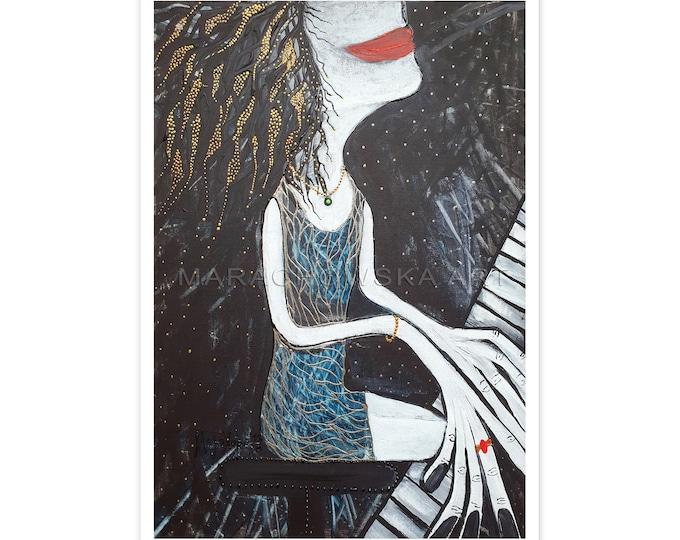 Piano Girl - Music Postcard - Postcard Pianist - Pianist - Pianist Postcard - Red Lips Girl - by Maria Marachowska