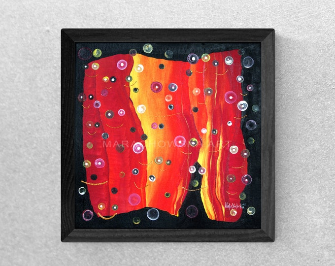 Abstract Canvas Painting Framed Red, Original Abstract Canvas Painting Red Framed, Abstract Painting, Canvas Painting, by Maria Marachowska