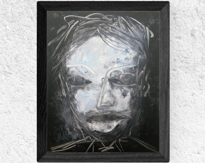 Canvas Painting Horror Portrait - Black Painting Horror Portrait - Horror Face Painting - Horror Face Black - Horror - by Maria Marachowska