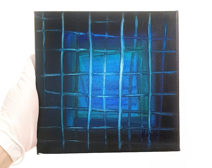 Blue Lines Painting, Acrylic Blues Abstract Painting, Framed Abstract Painting, Original Blue Artwork, Lines Painting, by Maria Marachowska
