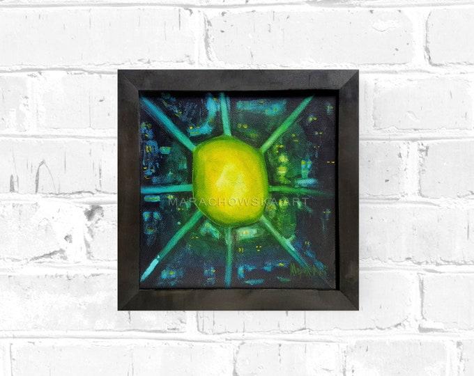 Abstract Painting Planet, Original Abstract Painting, Framed Painting, Canvas Painting, Surreal Painting, Green Yellow, by Maria Marachowska