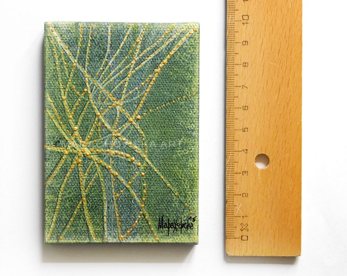 Small Canvas Abstract Painting - Miniatures Canvas Abstract Painting - Textured Gold Canvas Abstract Painting - by Maria Marachowska
