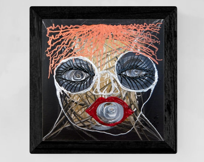 Horror Painting Woman - Painting Red Lips - Horror Painting Girl - Framed Horror Painting - by Maria Marachowska