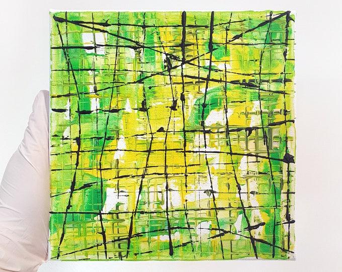 Original Painting Green Field, Abstract Painting Textured Green Framed, Lines Painting, Abstract Painting, Artwork, by Maria Marachowska