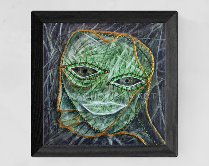 Surreal Painting Face, Original Canvas Painting, Framed Canvas Painting, Surreal Canvas Painting, Green Painting, by Maria Marachowska