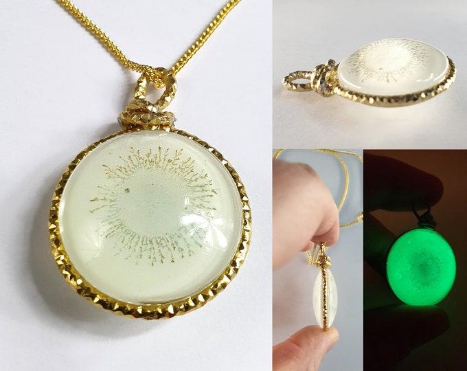 Glow in the dark Glass Jewelry Pendant, Handmade Jewelry, Hand Painted, Glow Necklace, Glow Jewelry, Luxury Jewelry, Maria Marachowska