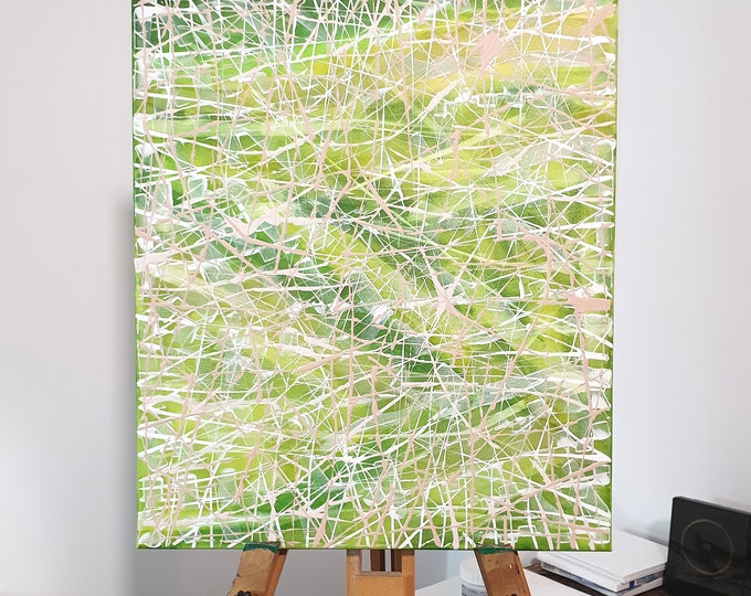 Abstract Painting Green Field, Canvas Painting Field, Abstract Artwork Field, Framed Wall Art, Field Painting, by Maria Marachowska