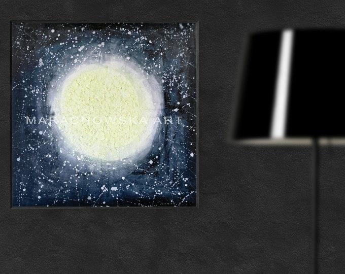 Painting Moon Large, Glowing Moon Painting, Abstract Painting Moon, Moon Painting, Moon Artwork, Glowing Painting, by Maria Marachowska