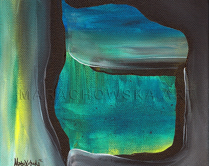 Original Abstract Painting Mountain - Abstract Artwork Green Black - Green Black Abstract Painting - Abstract Painting -by Maria Marachowska