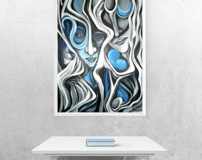 Painting Surreal Blue Heart, Original Painting, Framed, Surreal Art, Blue, Erotic Art, Blue Heart, Siberian Blues, by Maria Marachowska