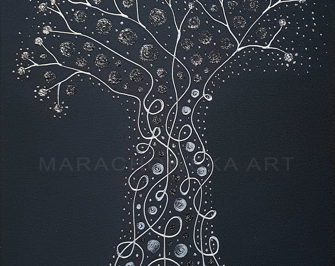 Painting Art Nouveau Tree, Silver Tree Painting, Black Canvas Painting, Framed Painting, Original Tree Painting, Tree, by Maria Marachowska