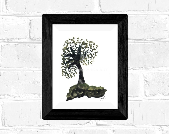 Framed Watercolor Painting Green Tree, Watercolor Painting Tree, Watercolor Nature Painting, Tree Painting, by Maria Marachowska