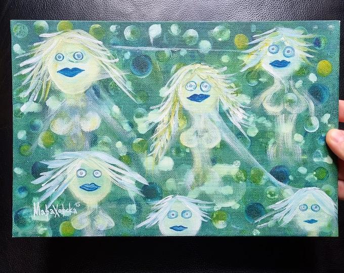 Grapes Painting, Surreal Canvas Painting Grapes, Original Painting Grapes, Grapes Artwork, Surreal Painting Grapes, by Maria Marachowska