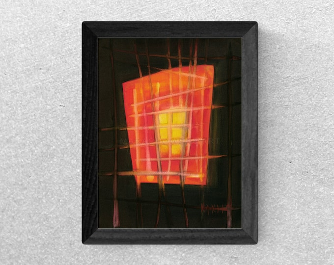 Original Painting Red House - Mystery Painting - Black Red Room Canvas Painting - Dark Art Room Painting - by Maria Marachowska