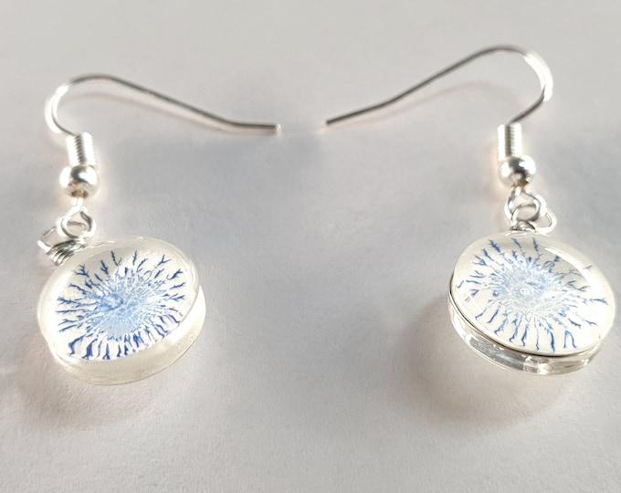 Small Glass Earrings Handmade - Blue Glass Earrings Hand Painted - by Maria Marachowska
