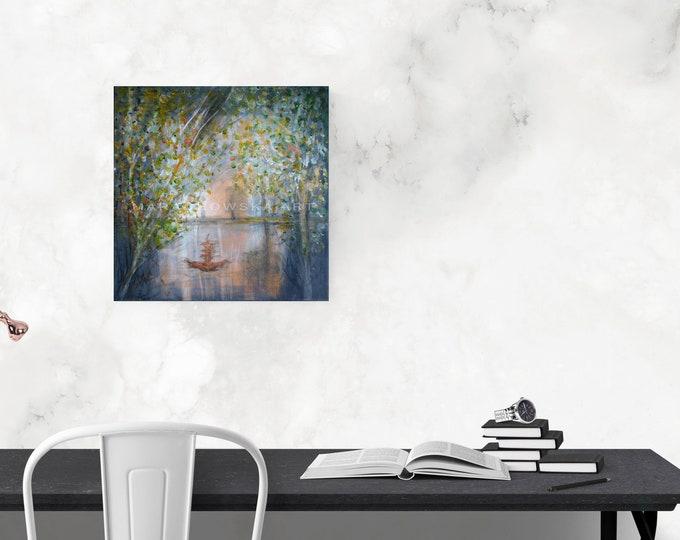 Painting Vintage Ship, Nature Canvas Seascape Painting, Nature Water Trees Painting, Ship Painting, Seascape Painting, by Maria Marachowska