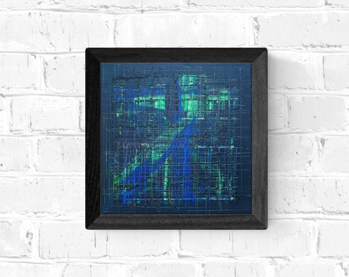 Abstract Blues Painting, Canvas Painting Blue, Framed Abstract Painting, Blue Green Painting, Original Painting Blues, by Maria Marachowska
