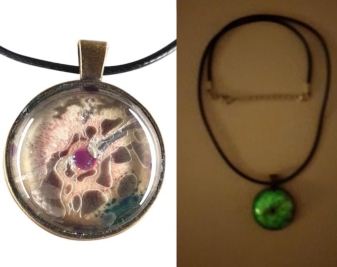 Beige Glass Pendant Necklace Jewelry, Glow in the Dark Jewelry Pendant, by Maria Marachowska