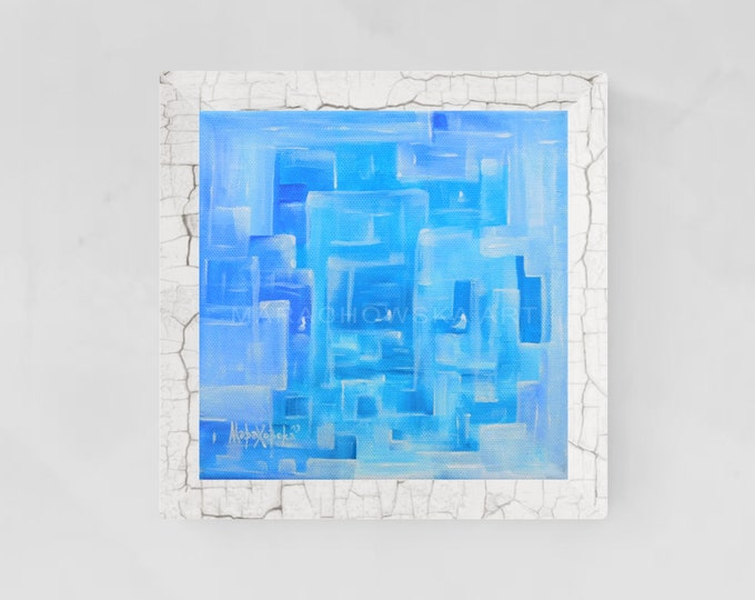 Abstract Painting Light Blue - Canvas Light Blue Painting - Original Light Blue Painting - by Maria Marachowska