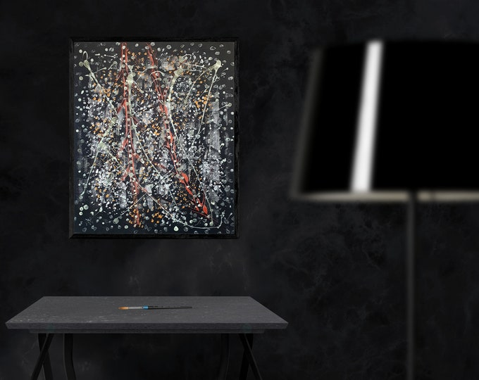 Painting Dark Abstract Art, Glowing Painting, Framed Painting, Original Painting, Dark Artwork, Black White Painting, by Maria Marachowska