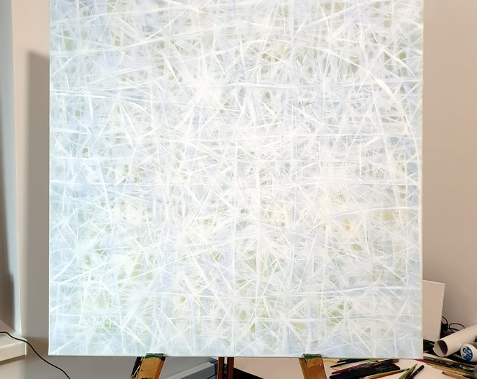 Snow Canvas Painting - White Snow Abstract - Snow Landscape Painting - White Snow Canvas Painting - Abstract Painting - by Maria Marachowska