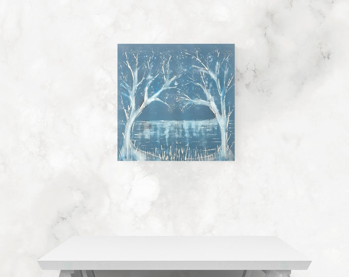 Blue Winter Trees Canvas Painting, Original Painting Trees, Seascape Painting Trees, Winter Seascape Painting, by Maria Marachowska