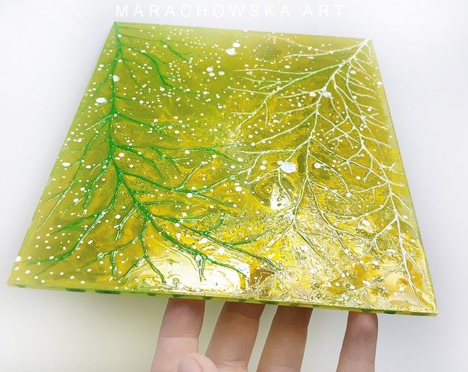 Stained Glass Painting Tree - Gold Glass Painting - Nature Window Decoration - Glass Artwork Tree - by Maria Marachowska