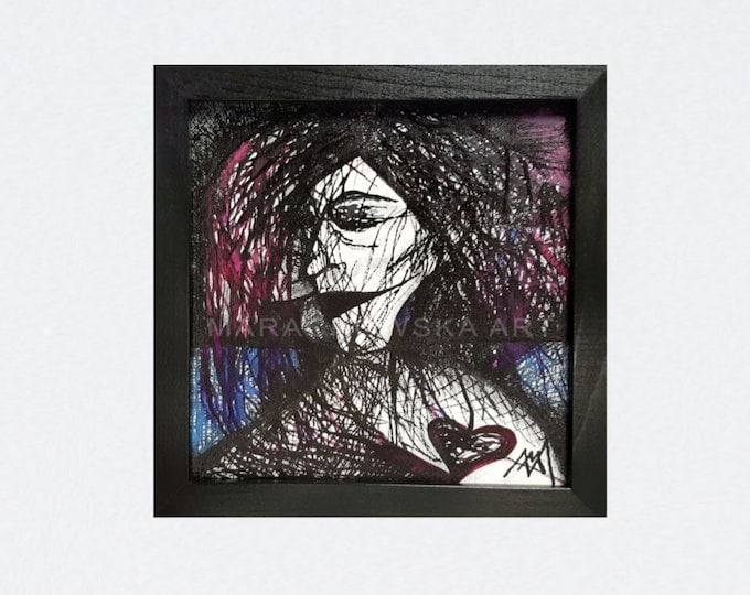 Ink Woman Painting - Canvas Ink Painting - Framed Artwork Woman Portrait - Canvas Painting - Ink Painting - by Maria Marachowska