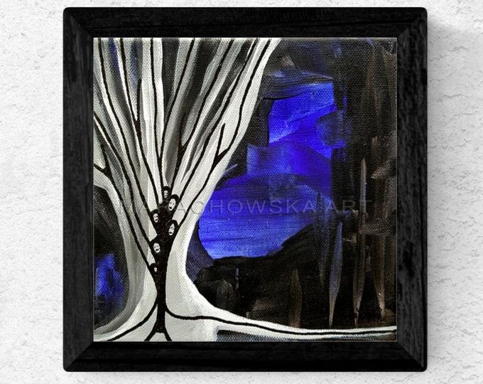Dark Art Painting Tree - Blue Canvas Painting Black Tree - Blue Black Painting Tree - by Maria Marachowska