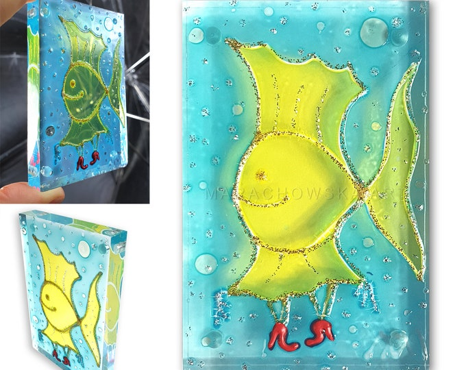 Gold Fish - Glass Painting - Glass Fish Artwork Magnet Fish - Turquoise Fish - Stained Glass Painting - by Maria Marachowska