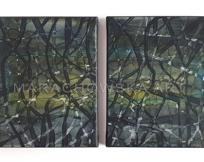 Diptych Paintings - 2 Acrylic Canvas Abstract Paintings - Diptych Wall Art Framed - by Maria Marachowska