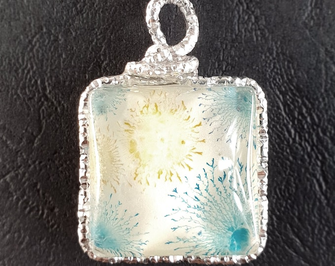 Glass Pendant Turquoise Jewelry - Glowing Blue Pendant - Glowing Pendant - Glowing Glass Jewelry - by Maria Marachowska