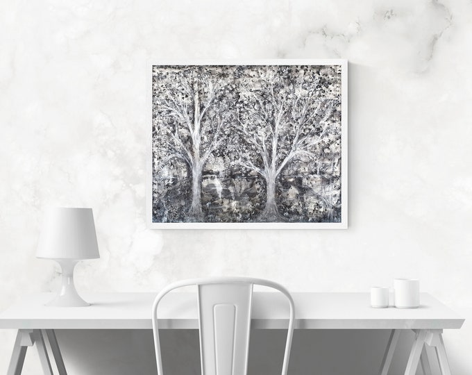 White Forest Wall Art Nature - Painting White Forest - Canvas White Forest - by Maria Marachowska