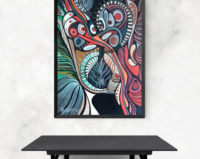 Large Watercolor Colorful Painting - Pop Art Watercolor Painting - Framed Watercolor Colorful Painting - by Maria Marachowska