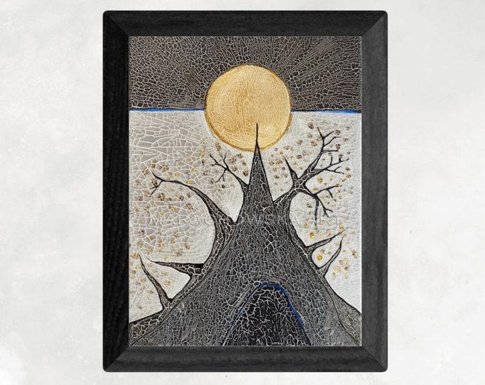 Painting Moon Tree - Gold Tree Artwork - Textured Gold Silver Painting - Gold Silver Painting - by Maria Marachowska