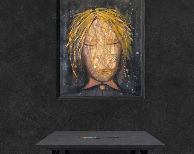 Painting Yellow Black Girl, Original Acrylic Canvas Painting Girl, Canvas Painting Yellow Girl, by Maria Marachowska