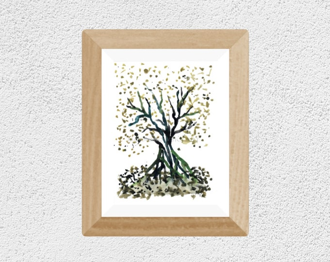 Original Watercolor Painting Green Tree - Minimal Watercolor Painting Tree - Framed Watercolor Painting Tree - by Maria Marachowska