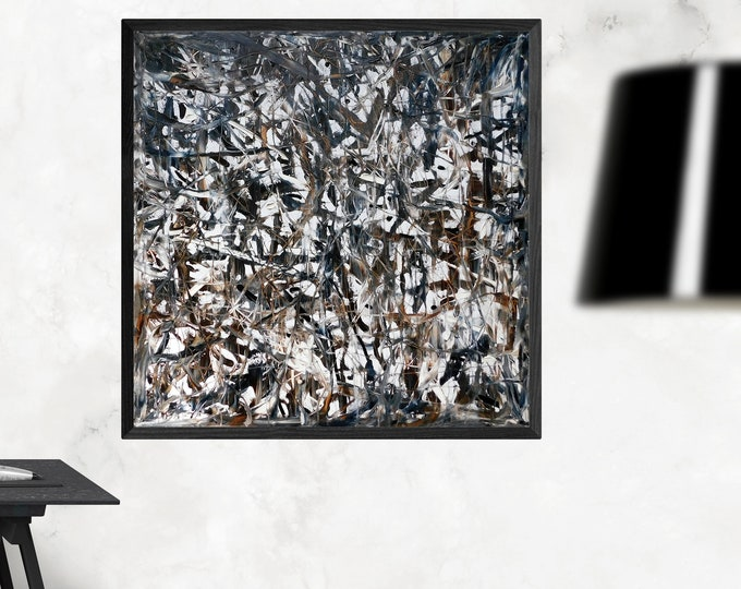 Large Original Oil Painting Abstract - Expressive Painting - Oil Dark Art - Oil Canvas Painting Framed - by Maria Marachowska