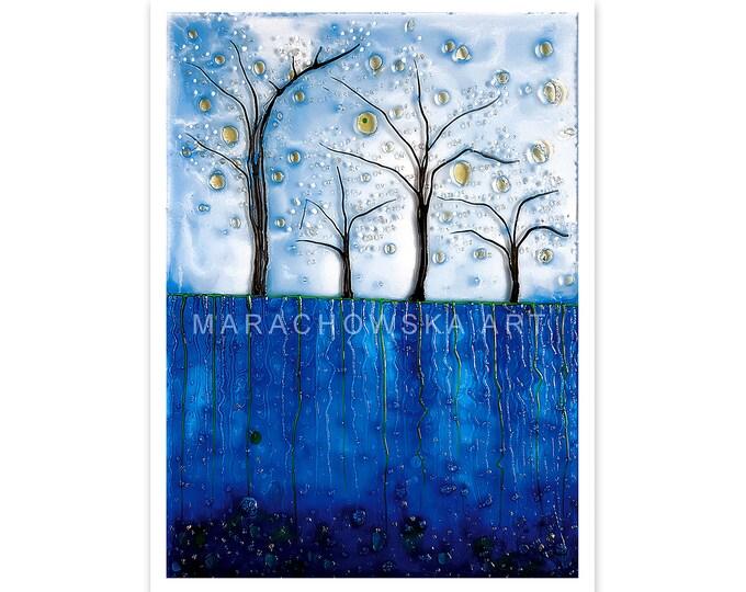Postcard Blue Trees, Postcard Landscape, Postcard Trees, Postcard Nature, Panoramic Print Tree Postcard, Blue Trees, by Maria Marachowska