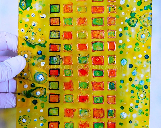 Abstract Painting Yellow Spring, Glass Painting Spring, Suncatcher Spring, Original Painting Spring, Colorful Painting, by Maria Marachowska
